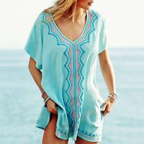 Embroidered Bikini Blouse Seaside Sun Protection Shirt Beach Clothing