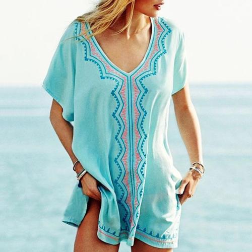 Embroidered Bikini Blouse Seaside Sun Protection Shirt Beach Clothing