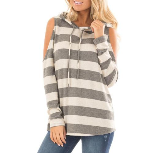 Striped Long Sleeve Hollow Out T-Shirts