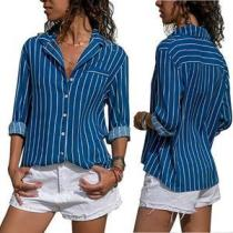 Blue Striped Asymmetric Hem Blouses