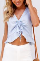 Light Blue Sleeveless T-Shirt Blouses