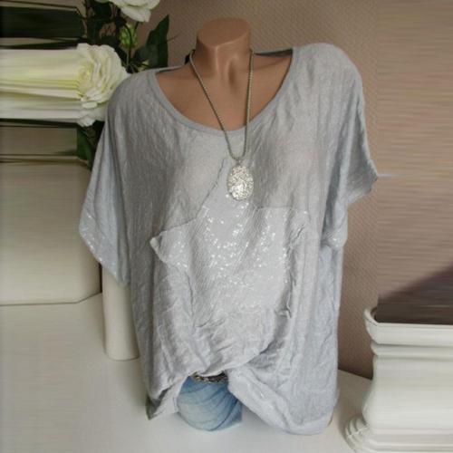 Round Neck Short Sleeve Star T-Shirts