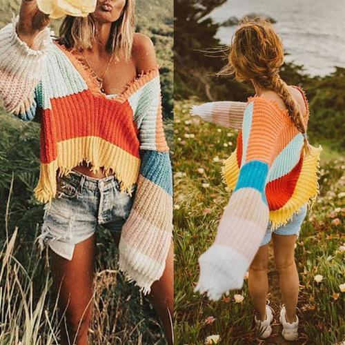 V-Neck Rainbow Striped Fringed Loose Irregular Knit Sweater