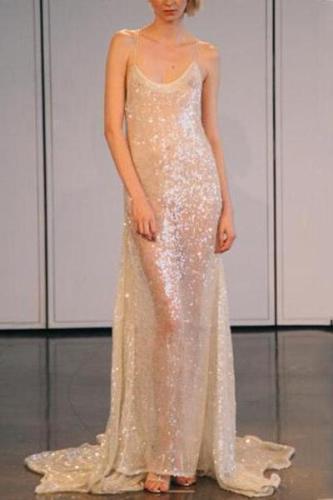 Sliver Sequin Sexy Strap Evening Dress