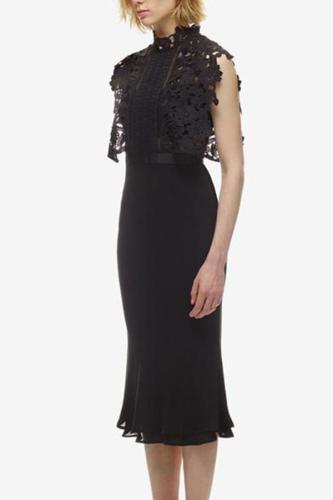Fashion Lace Splicing Pure Colour Bodycon Dresses