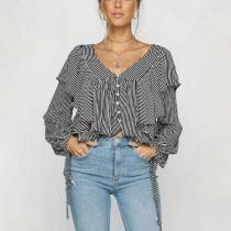 Sexy Strip Deep V Collar Flounce Front Long Sleeve Button Crop Blouse