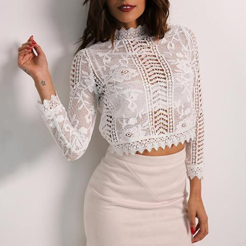 Sexy Embroidery Hollow Lace Stitching Shirt