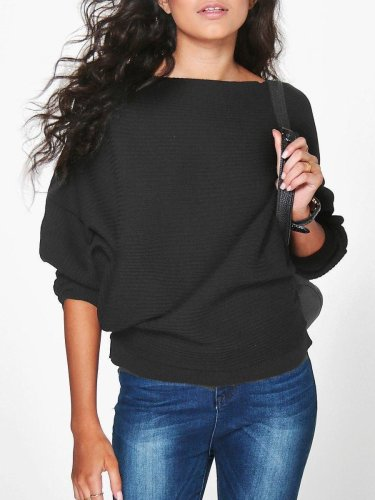 Knitted Bat-Wing Sleeve Casual Jumper Type Sweater