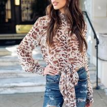 High Collar Leopard Long Sleeve Bow Blouse