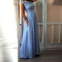 Elegant High-Waist Pocket Holiday Maxi Dresses