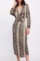 Lapel V Neck Long Sleeve Sexy Snake Printed Maxi Dress