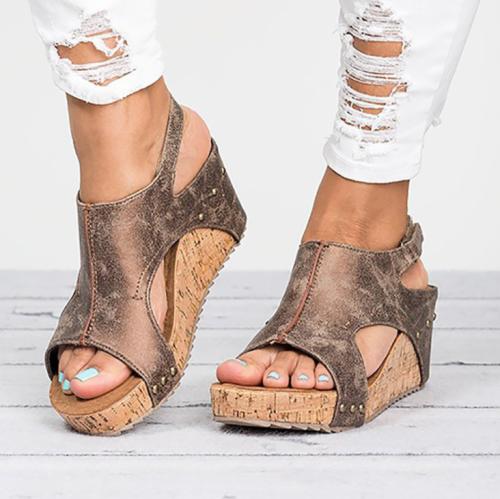 Peep Toe PU Wedges Blocking Hook-Loop Wedge Sandals