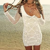 Bohemian Sexy Hook Flowers Long-Sleeved Midi Beach Dress