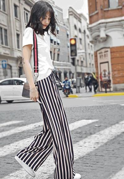 Loose Thin Elastic Striped Wide Leg Pants