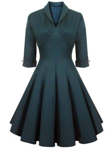 Graceful Shawl Collar Decorative Button Solid Skater Dress