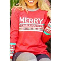 Round Neck  Letters Christmas  T-Shirts