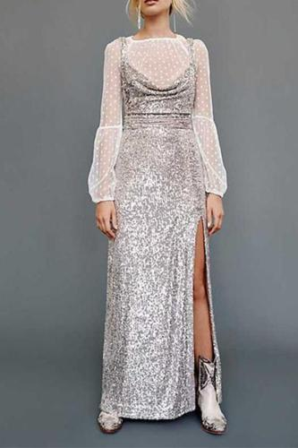 Fashion Sequined Sexy Open Back Dress