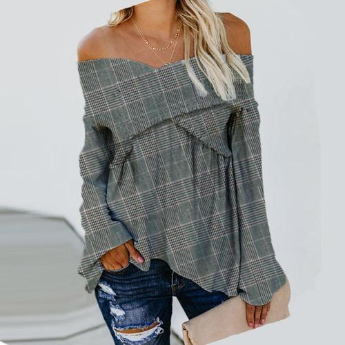 Sexy V-Neck Checked T-Shirt