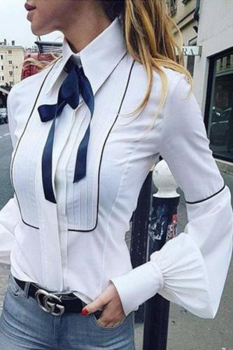 Turn Down Collar  Contrast Trim  Lantern Sleeve Shirts