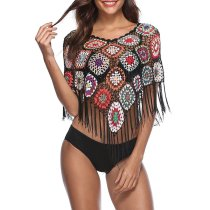 Embroidery Hollow Sexy Bikini Blouse