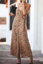 V Neck  Lace Up  Leopard Jumpsuits