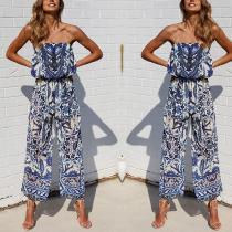 Fashion Printing Flower Strapless Jumpsuit