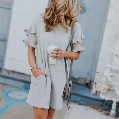 Round Neck Short Sleeve Ruffles Casual Dresses