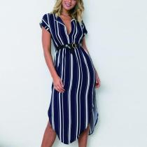 Striped Split-Side V-Neck Casual Dresses