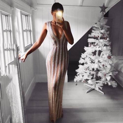 Fashion V Neck  Sleeveless Evening Dress