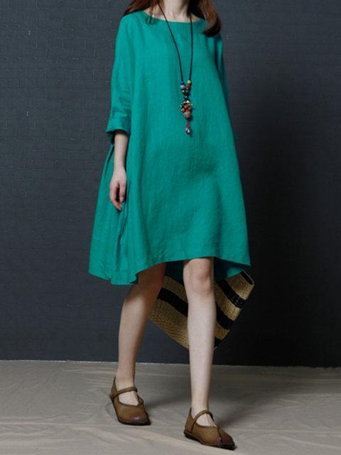 Women Shift Daytime Linen 3/4 Sleeve Casual Solid Dress