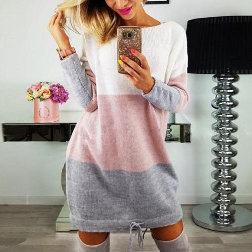Fashion Color Block Long Sleeve Elegant Knitting Casual Dress
