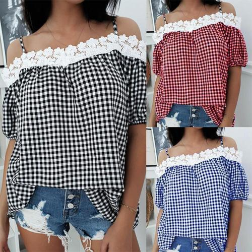 Spaghetti Straps Lace Patchwork Plaids Short Sleeve Blouses