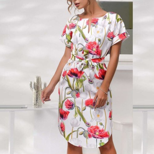 Short-Sleeved Print Dress