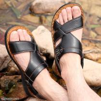 Men's Sandals, Leather Beach Shoes, Summer Slippers