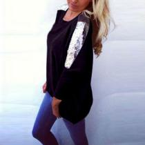 Long Sleeved Sexy Sequined T-Shirt