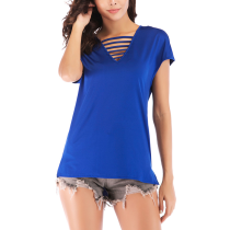 V-Neck Solid Color Loose Short-Sleeved T-Shirt