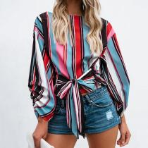 Fashion Striped Long Sleeve Belted Blouses