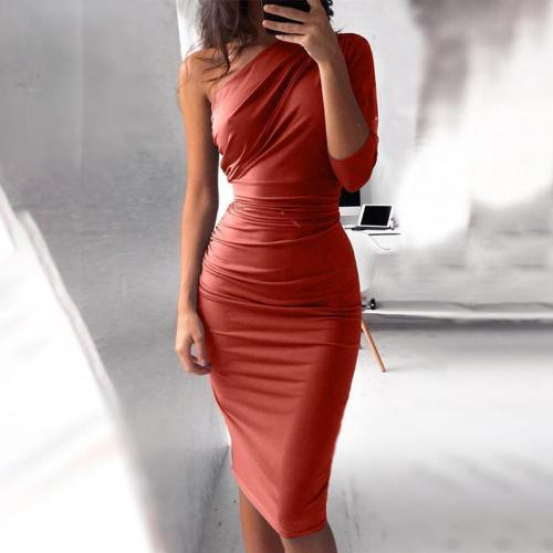 Fashion Solid Color One Shoulder Sexy Bodycon Dress