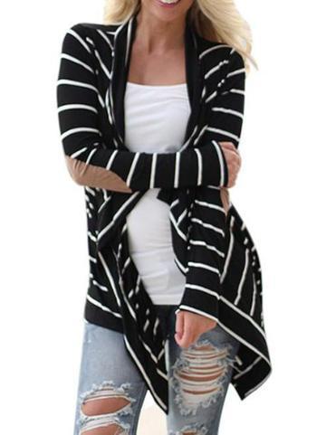 Cropped Stripe Long Sleeve Top