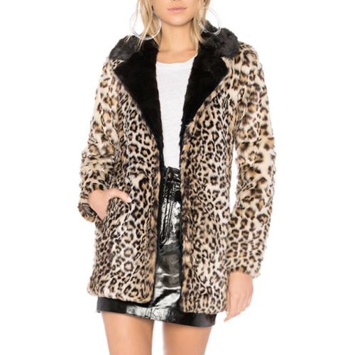 Leopard Print Suit Collar Imitation Fur Coat