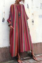 Bohemian Striped  Bell Sleeve Maxi Dresses