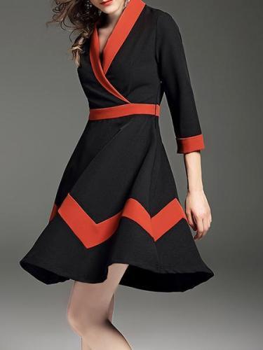Ladies New Splicing V-Neck Long Dress