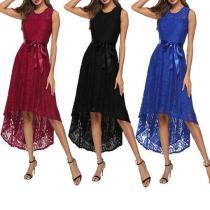 Fashion Round Collar Irregular Lace Belt Large Swing Dresses