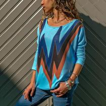 Fashion Wave Pattern Long Sleeve T-Shirt