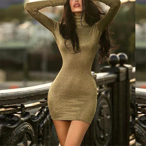 Fashion Long Sleeved Sexy Gold Silk Dress