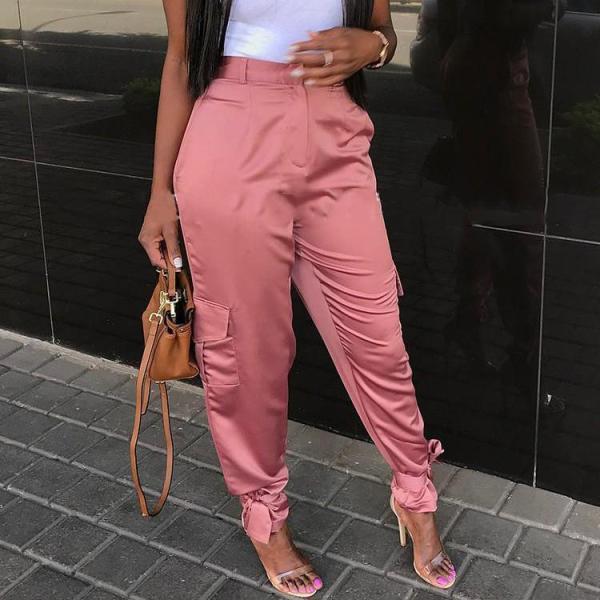 Fashion Pocket Solid Color Wide Leg Trousers Pants