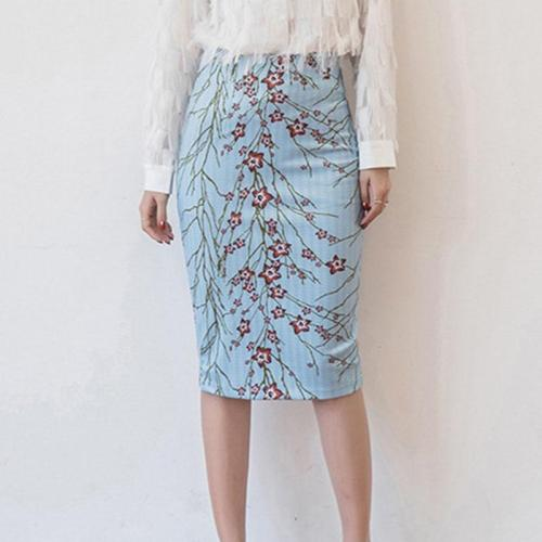 Floral Print Bodycon Split Casual Women's Skirt