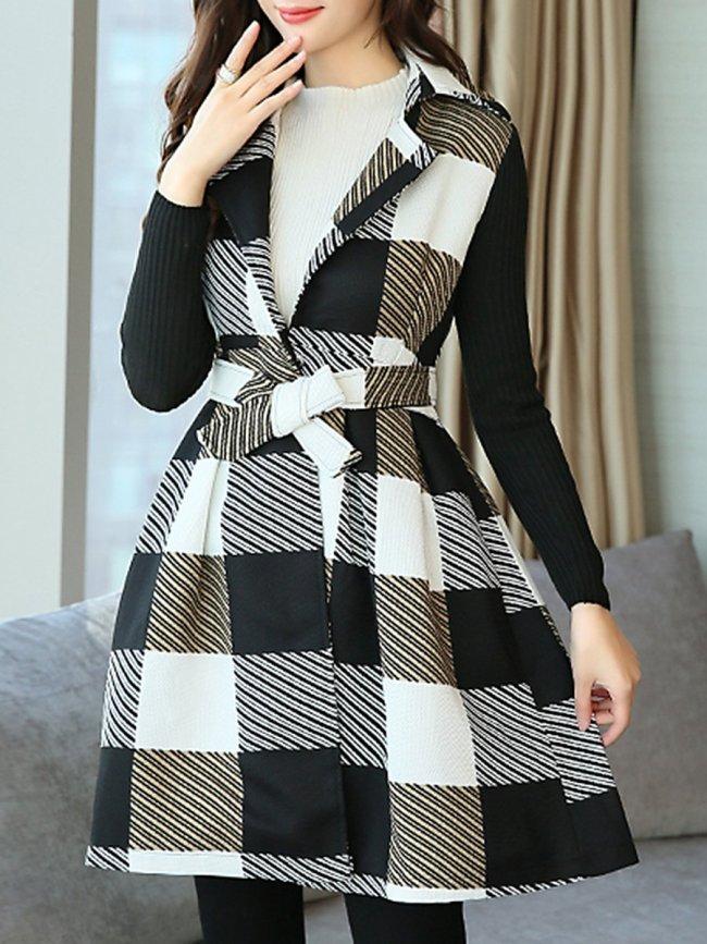 Lapel Plaid Patchwork Belt Woolen Swing Coat