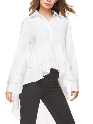 Fashion Long Sleeve Irregular Pure Colour Shirt