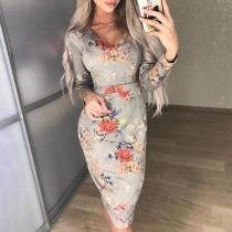 V Neck Long Sleeve Floral Printed Sexy Bodycon Dress
